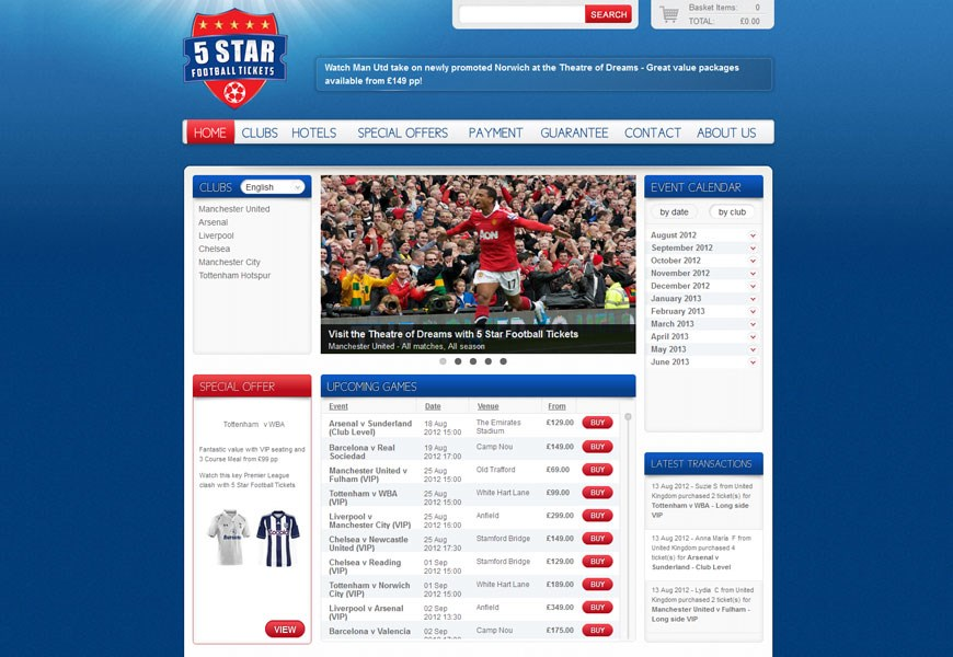 5 Star Football Tickets home page