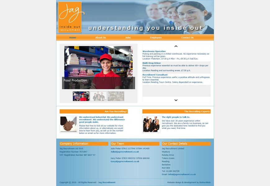 Jag Recruitment home page